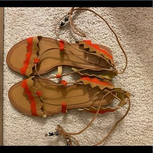 Dolce Vita Brown and red Suede Lace Up Sandals